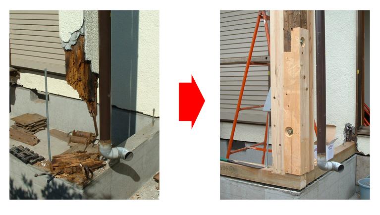 耐震リフォームの対応事例 ~腐食で危険な状態の支柱~